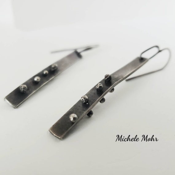 Riveted Bar Earrings Sterling Silver