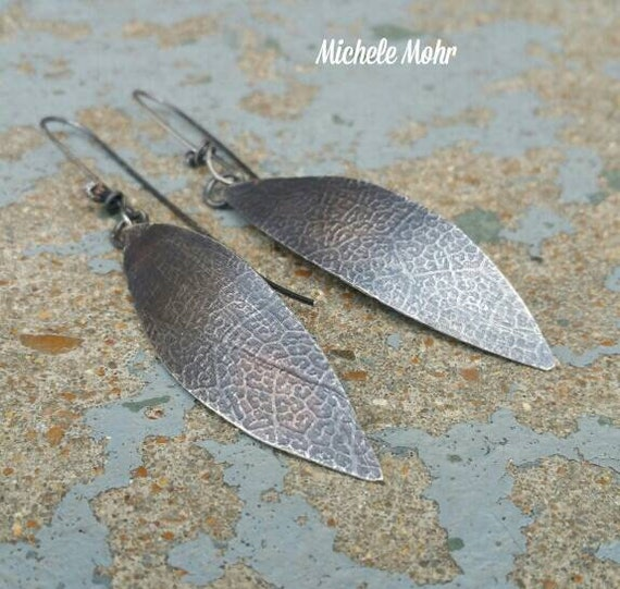 Long Textured and Oxidized Sterling Silver Leaf Earrings
