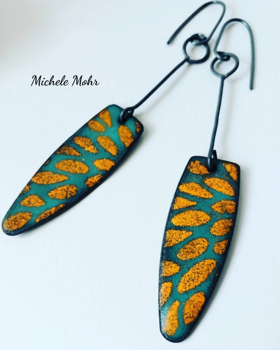 Seafoam Green and Sunset Orange Vitreous Enamel Earrings with Oxidized Sterling Silver Ear Wires