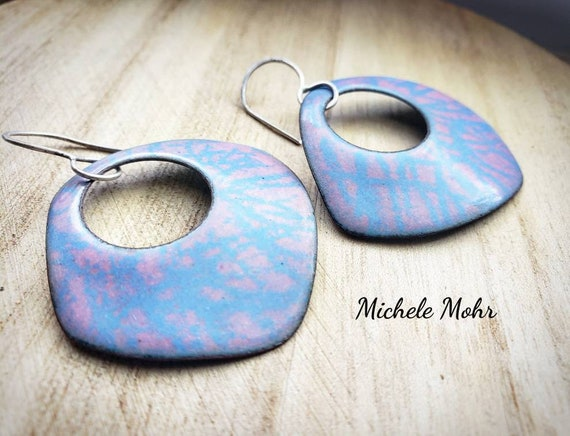 Big and Bold Vitreous Enamel Geometric Earrings with Sterling Silver Ear Wires