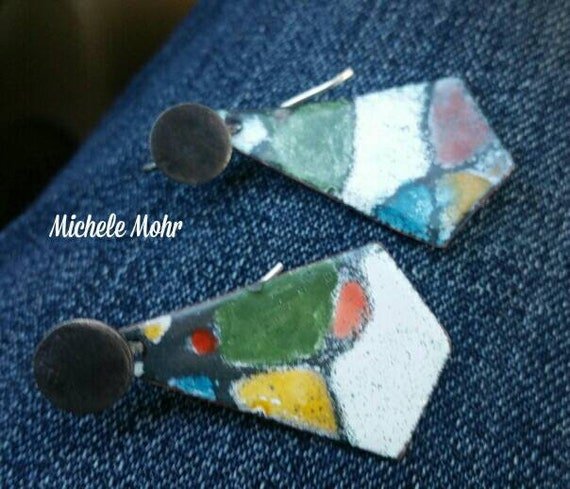 Multicolored Graphic Geometric Handpainted Kiln Fired Enamel Earrings with Sterling Silver Ear Wires