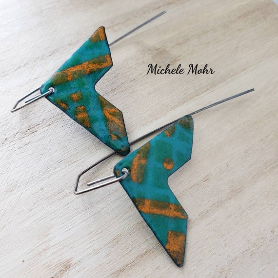Chevron Geometric Vitreous Enamel and Oxidized Sterling Silver Earrings