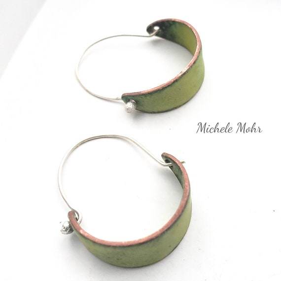 Spring Bitter Green Vitreous Enamel and Fine Silver Hoop Earrings.