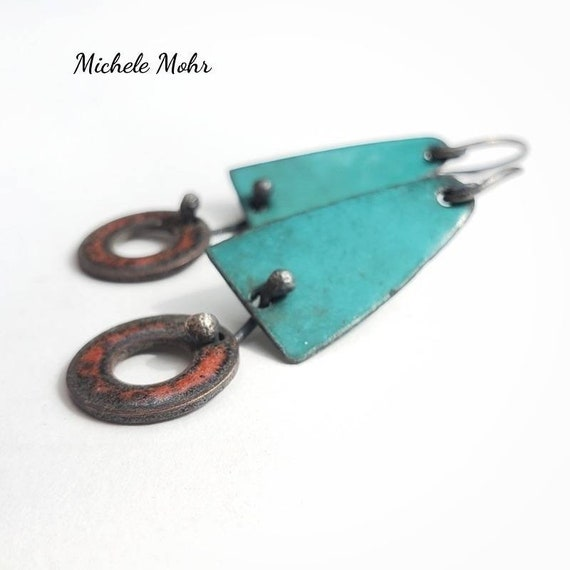Dangerous Duo Spruce Green and Burnt Orange Vitreous Enamel Earrings with Sterling Silver Ear Wires