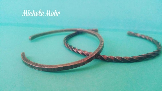 Hammered and Twisted Copper Cuff Set