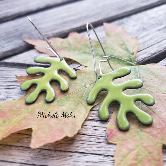 Bitter Green Vitreous Enamel Leaf Earrings