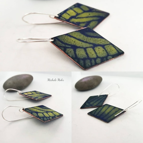 Botanical Vitreous Enamel and Sterling Silver Earrings