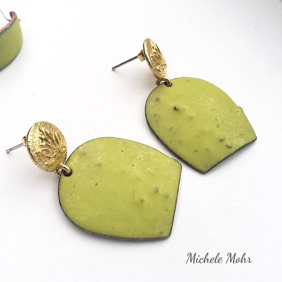 Blooming Cactus Vitreous Enamel Post Earrings