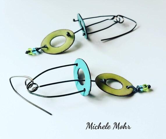 Seafoam and Bitter Green Kinetic Oxidized Sterling Silver Vitreous Enamel Earrings