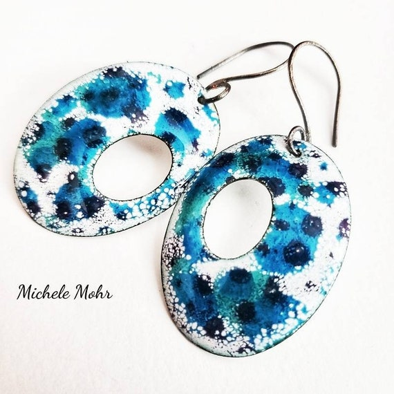 Happy Synchronicity Vitreous Enamel Earrings with Oxidized Sterling Silver Ear Wires