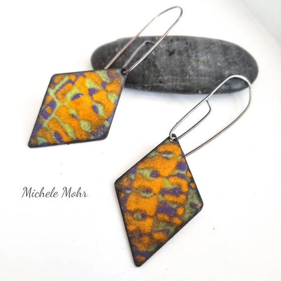 Feeling Groovy Vitreous Enamel and Sterling Silver Earrings
