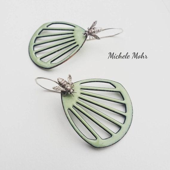 Flower and Bee Enamel Earrings with Fine Silver Ear Wires