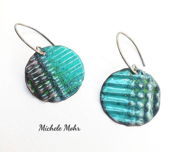 Tranquil Sea Corrugated Vitreous Enamel Earrings with Oxidized Sterling Silver Ear Wires