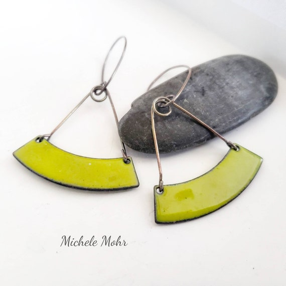 Bitter Green Trapeze Enamel and Sterling Silver Earrings