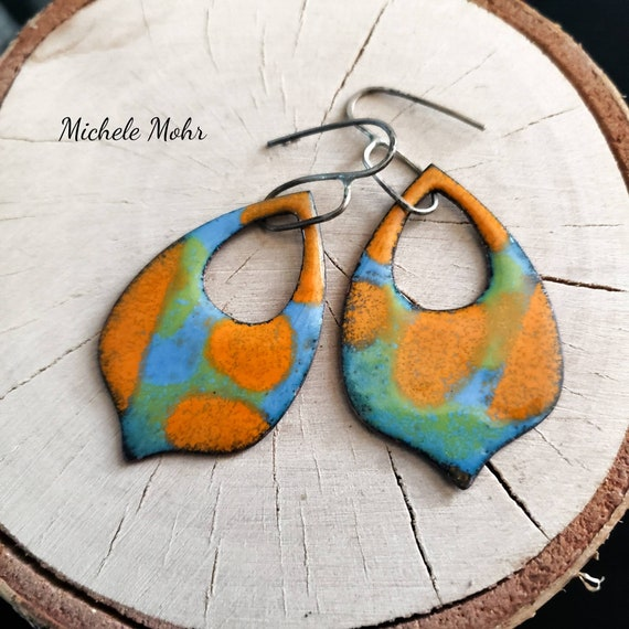 Bold and Beautiful Enamel and Sterling Silver Earrings
