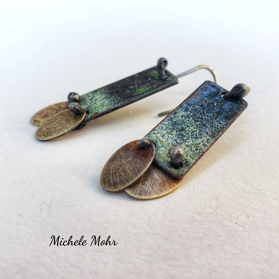 SALE - At Twilight Vitreous Enamel Earrings with Oxidized Sterling Silver Ear Wires