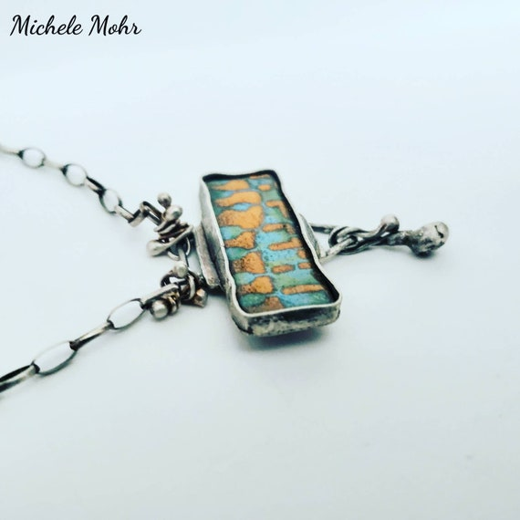 "Feeling Groovy Vitreous Enamel and Silver 19"" Necklace"