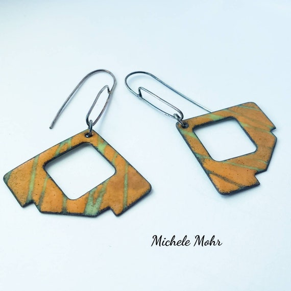 Abstract Sunser Orange and Bitter Green Vitreous Enamel and Sterling Silver Earrings