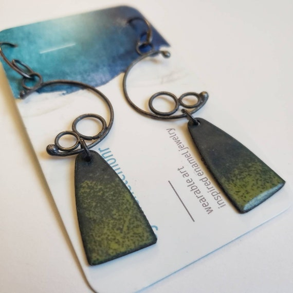 Slate Gray and Bitter Green Enamel Earrings with Oxidized Sterling Silver Hangers and ear Wires