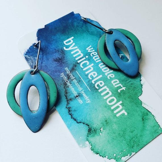 Modern Blue and Green Vitreous Enamel Earrings