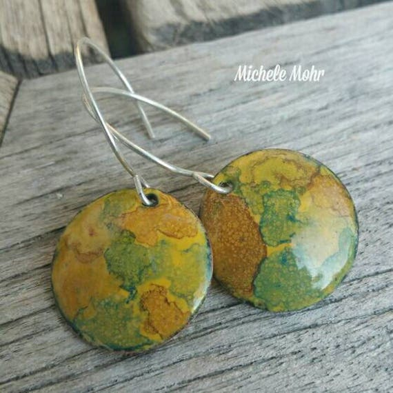 Desert Mirage Enameled Copper and Sterling Silver Earrings