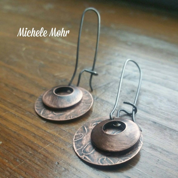 Textured Copper and Oxidized Sterling Silver Kidney Wire Earrings