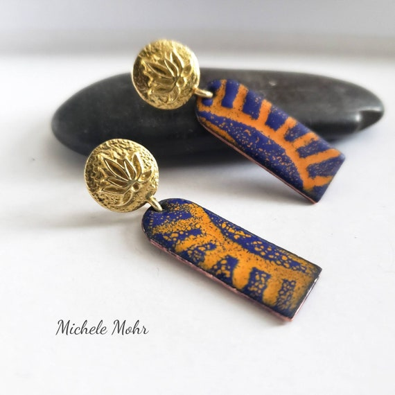 Lotus Sunrise Vitreous Enamel and Brass Earrings with Stainless Steel Posts
