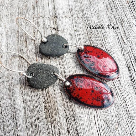 Hot Lava Vitreous Enamel and Pebble Fine Silver Earrings