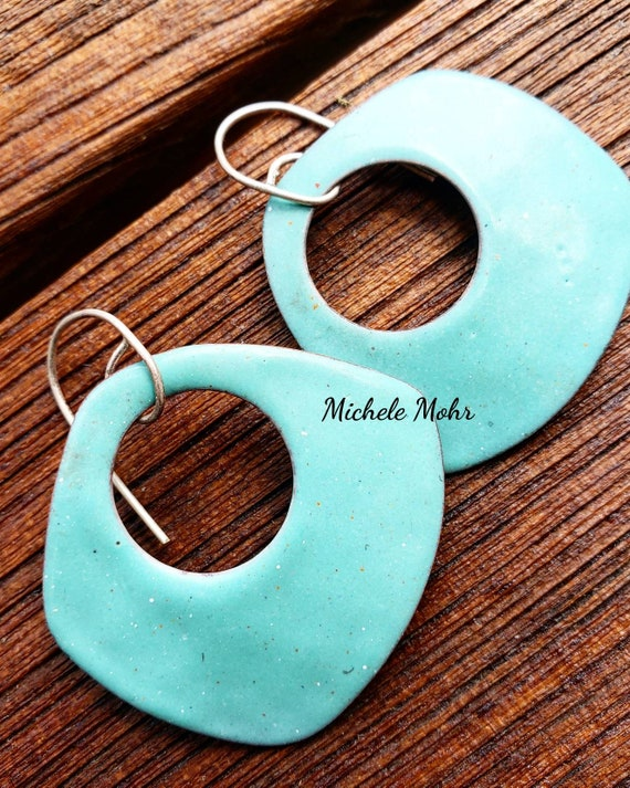 Big and Bold Seafoam Green Vitreous Enamel Earrings with Sterling Silver Ear Wires