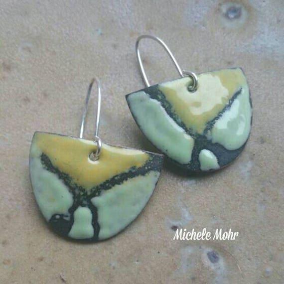 Enameled copper shield earrings with sterling silver ear wires