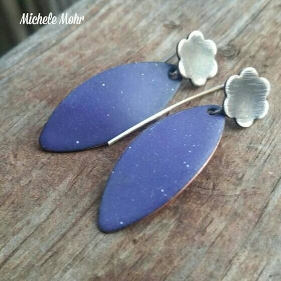 Purple Enamel Copper and Sterling Silver Earrings
