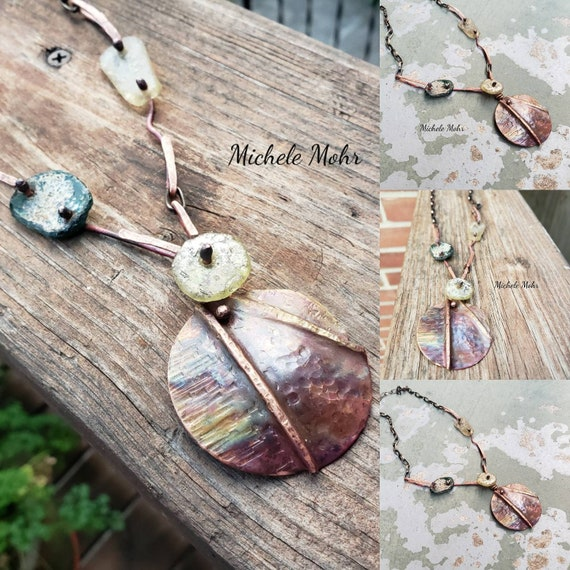 """Paradise by the Sea Hand Forged and Foldformed Copper and Roman Glass 24"""" Necklace"""