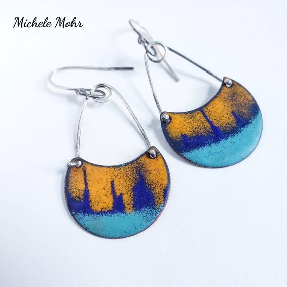 Sunset Over the City Vitreous Enamel and Sterling Silver Earrings