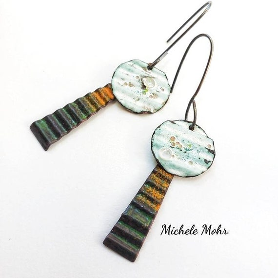 Autumn Day Corrugated Vitreous Enamel Earrings with Sterling Silver Ear Wires