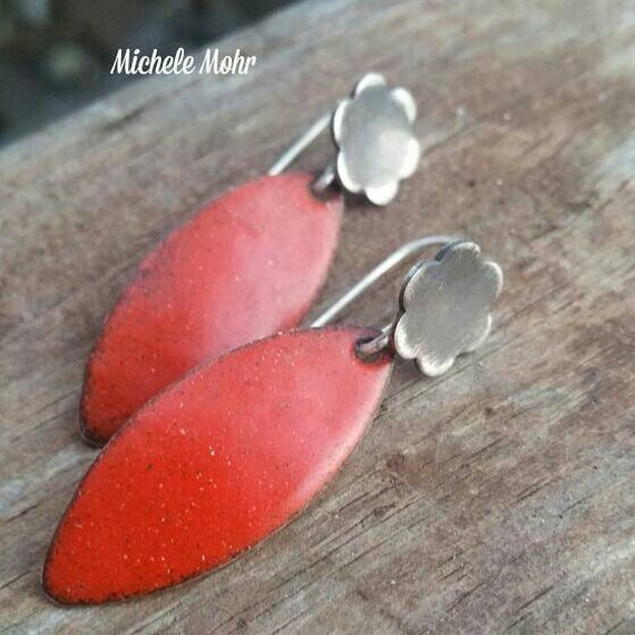 Fire Orange Leaf and Flower Enamel Copper and Sterling Silver Earrings