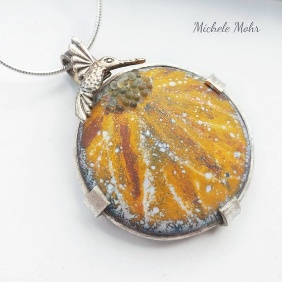 Vitreous Enamel Coneflower and Hummingbird Sterling Silver Pendant Adjustable Necklace