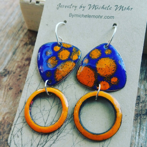Peacock Blue and Sunset Orange Vitreous Enamel Copper Earrings - Asymmetrical earrings