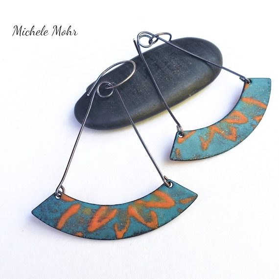 Changing Seasons Vitreous Enamel and Oxidized Sterling Silver Earrings