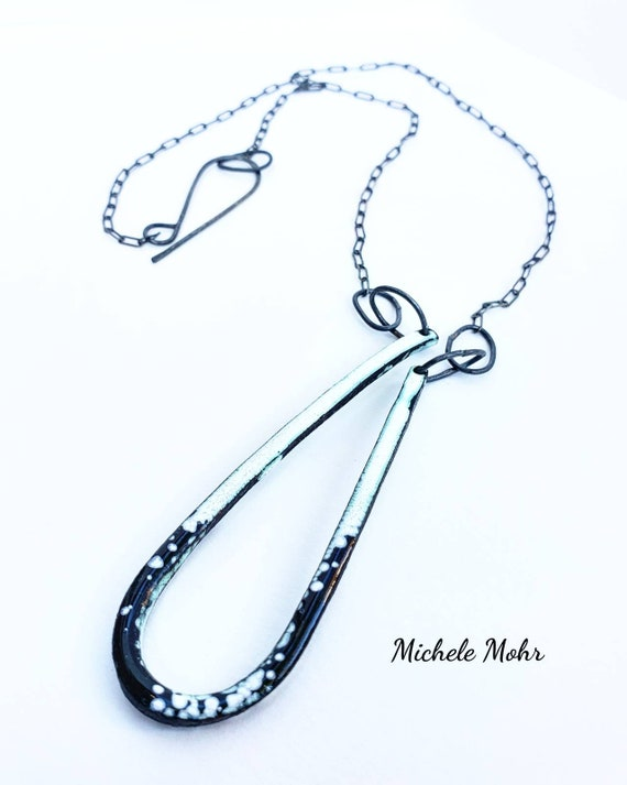 SALE  Black and White Vitreous Enamel Asymmetrical Pendant Oxidized Sterling Silver Necklace