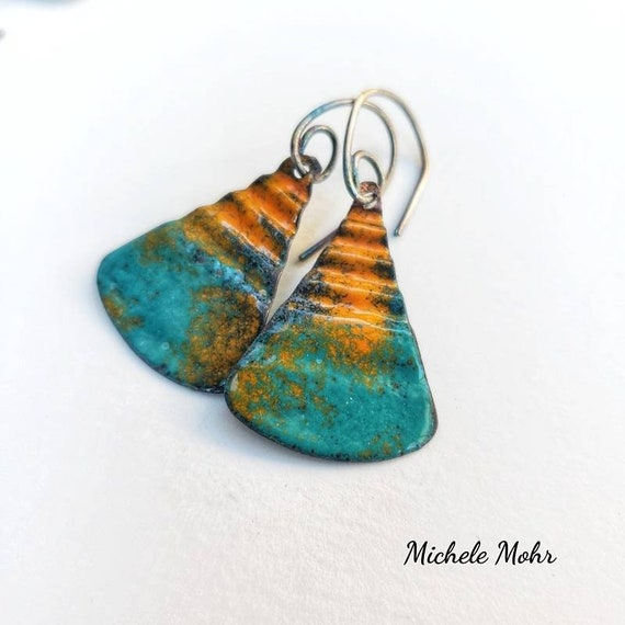 Summer Sunset Corrugated Vitreous Enamel Earrings with Oxidized Sterling Silver Ear Wires