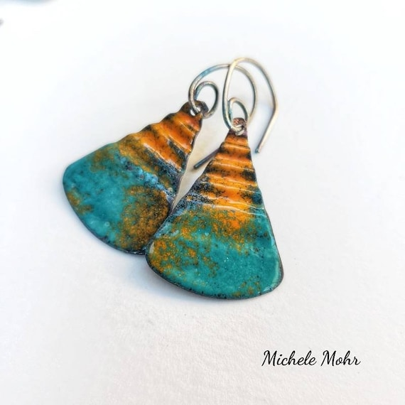 Autumn Sunset Corrugated Vitreous Enamel Earrings with Oxidized Sterling Silver Ear Wires