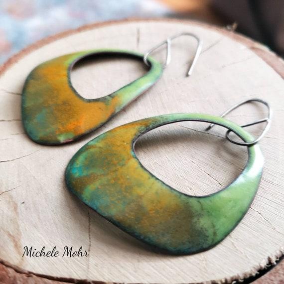 Tie Dyed Enamel and Sterling Silver Earrings