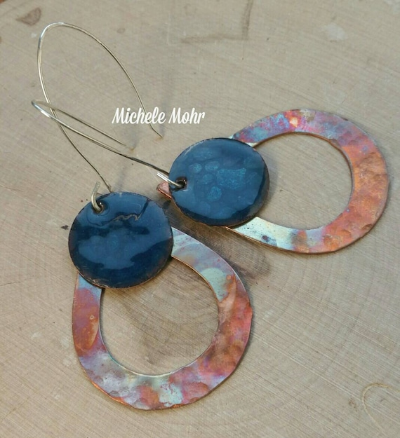 Flame painted copper teardrop earrings with water blue textured copper kiln fired vitreous enamel charms sterling silver earrings