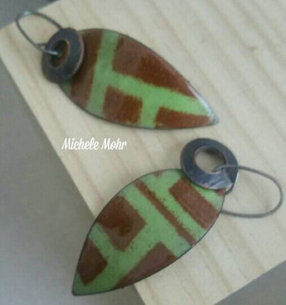 Pea Green and Brown Abstract Enamel Copper Leaf Earrings with Oxized Sterling Silver Ear Wires