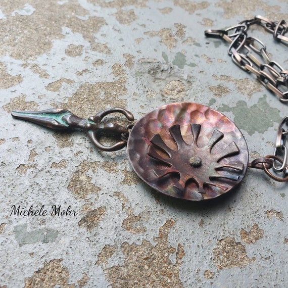 """Hand Forged and Fabricated Copper Moon and Sun Goddess 24"""" Necklace"""