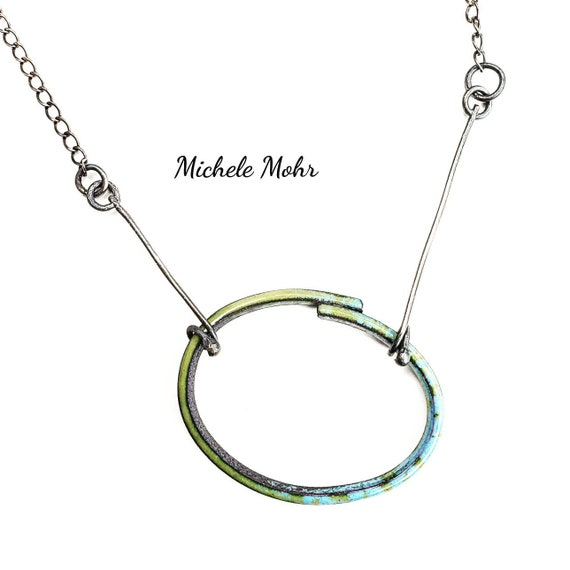 SALE - Green and Blue Oval Vitreous Enamel Pendant Oxidized Sterling Silver Necklace