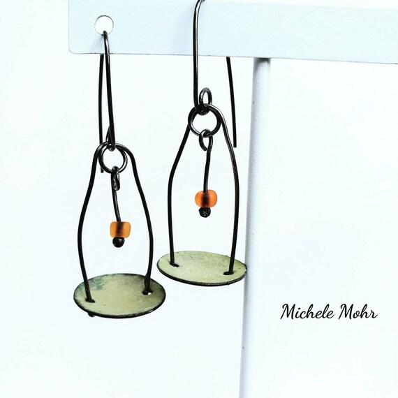 Kinetic Pendulum Oxidized Sterling Silver and Bitter Green Vitreous Enamel Earrings