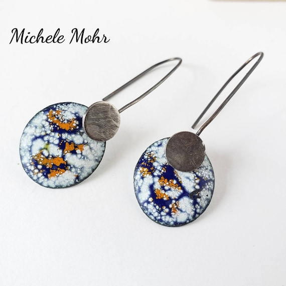 Galaxy Vitreous Enamel and Oxidized Sterling Silver Earrings