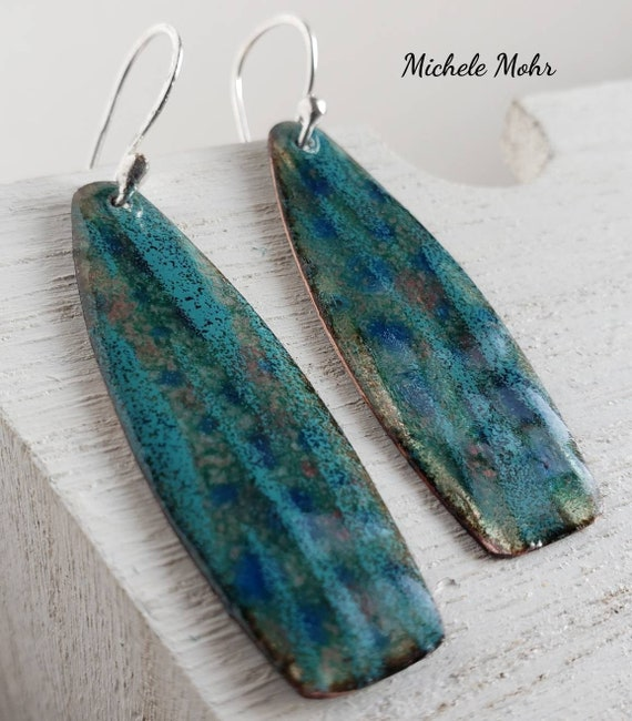 Summer at the Beach Vitreous Enamel and Fine Silver Earrings