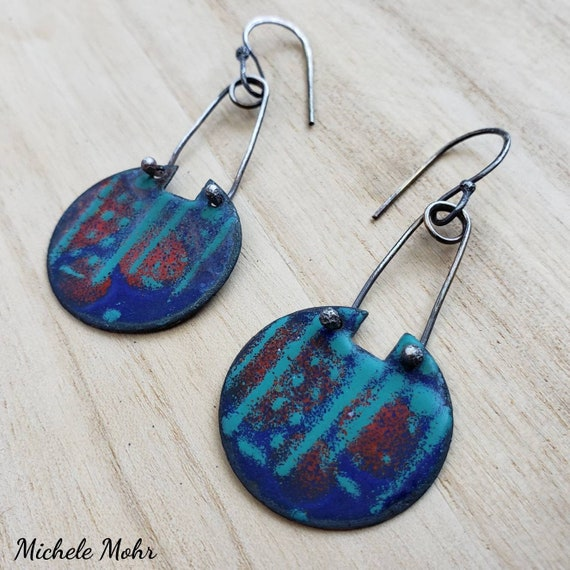 Cityscapes Vitreous Enamel and Oxidized Sterling Silver Earrings